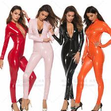 Womens Pu Leather Bandage Jumpsuit Bodycon Wet Look Clubwear Party Slim Jumpsuit