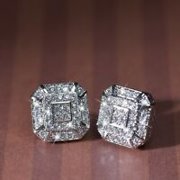 18k white gold gf stud made with Swarovski crystal square luxury earrings 11mm
