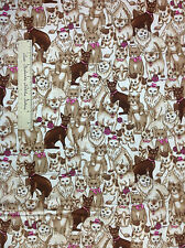 """FLANNEL Fabric - Brown & Beige Cats Mouse String Off White Pets LAST 30"""""""
