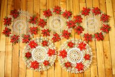 VTG Kitschy set of 5 Christmas Poinsettia Placemats Retro Holiday Tableware