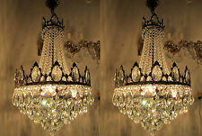 Pair of Antique French LARGE Real Swarovski Crystal Chandelier 1940's 16 in Ø