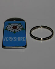 Blue Yorkshire Double Sided Dome Metal Keyring **Free UK Postage**