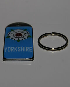 Blue, Yorkshire Double Sided Dome Metal Keyring **Free UK Postage**