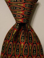 GIANNI VERSACE Mens 100% Silk Necktie ITALY Luxury Geometric Red/Blue/Yellow EUC
