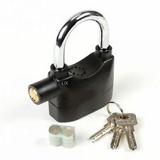 Siren Alarm Lock Security Anti-Theft Alarmed Padlock Motor Bike Bicycle Black