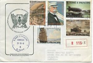 S. TOME & PRINCIPE 1988 ZEPPELIN, BIRTH OF GRAF ZEPPELIN, SHIPS, POSTED  COVER