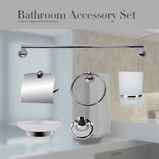 6 Piece Bathroom Hardware Accessories Set Towel Bar Ring Soap Holder Toilet