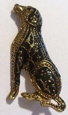 broche collection qualité chien émail noir et or antique en relief *169