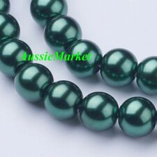 50 x glass beads green imitation pearl loose spacer 8mm jewellery jewelry crafts