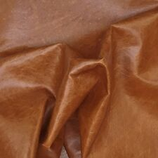 LEATHER PIECES OF COWHIDE 1 @ 75CM X 75CM COGNAC CRACKLE 1.0-1.2 MM THICK SUPPLE