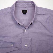 J CREW Solid Purple Lavender Oxford Button Down OCBD Mens Casual Dress Shirt - L