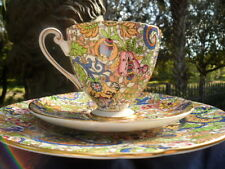 "Shelley BLUE PAISLEY CHINTZ  * RIPON *  CUP,  SAUCER AND 8"" PLATE - GOLD TRIM"