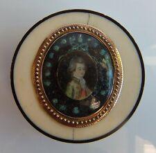 Boite XVIII°  Or Ecaille Miniature Cerclée d'Or Diam 5.8