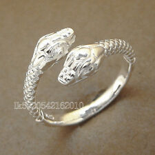 New Fashion Shiny 925 Silver Double Snake Ring Open Size Jewelry Gift