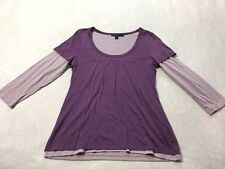 Boden Womens 10 Lavender Purple Layered 3/4 Sleeve Shirt Top Cotton Modal