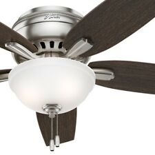 """Hunter Fan 52"""" Low Profile Ceiling Fan with Light and Cased White Glass"""