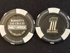 """Harley Poker Chip Golf Ball Marker (Black/White) """"Barnett's Las Cruces"""" NM"""