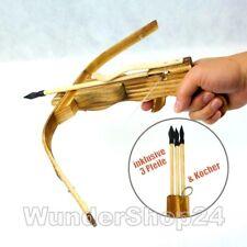 Armbrust Set Bambus Holzarmbrust Bogen mit Gummi Pfeile & Köcher Neu