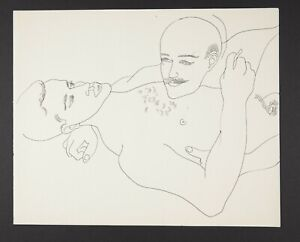Andy Warhol Original Vintage 1950s Male Couple Line Drawing TOP221.022.04