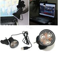 HOT USB 3-LED Clip-on Light Table Desk Reading Lamp Bulb for Laptop PC Computer