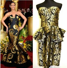 Elegant Jacquard Vintage Peplum Gold & Black Dress Size 14 *Free JD T-shirt*
