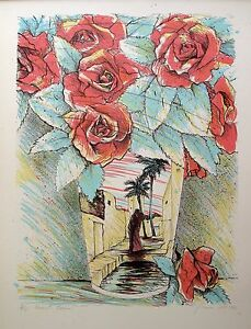 """SUSAN HALL """"DESERT ROSES"""" 1980 Hand Signed Limited Edition Fine Art Lithograph"""