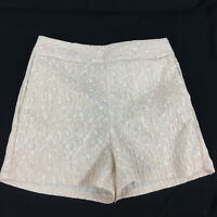 Express Textured Shorts Sz 00 & 2  R Side Zip Flat Chino Pockets Peach White NEW