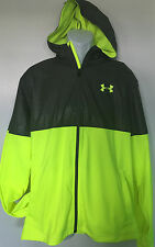 NEW UNDER ARMOUR MEN LEIGHT WEIGHT JACKET SIZE LARGE GRAY YELLOW 1280025 ZIP UP