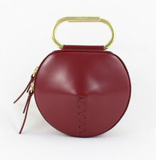 3.1 Phillip Lim NWOT Cardinal Red Leather Gold Tone Alix Circle Clutch Handbag