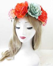Large Orange Blue Rose Flower Headband Garland Vintage Festival Hair Crown S90