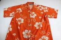 Street Culture Bright Orange Sheer Jersey Shirt Hawaiian Floral CAMP SHIRT Large