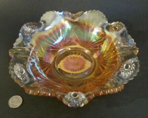 """RARE Antique MILLERSBURG Carnival Glass CACTUS (NO INTERIOR) Iridescent 9"""" Bowl"""