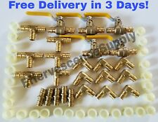 "(75 units) 1/2"" ProPEX Brass Fittings -  Elbow + Tee + Coupler + Valves + Rings"