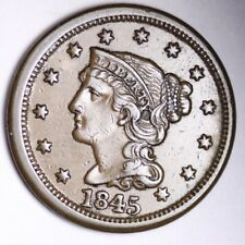 1845 Braided Hair Large Cent CHOICE AU+ FREE SHIPPING E130 AMM