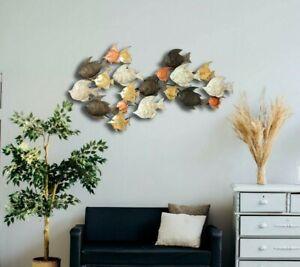 135cm Metal Wall Art School of Fish Hanging Sculpture Home Decor Indoor/Outdoor