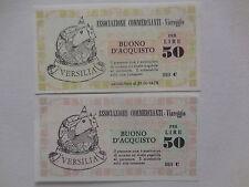coppia buoni acquisto 50 lire commercianti Viareggio tipo rosa e verde