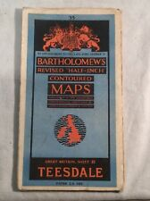 """Vintage """"Teesdale"""" Sheet 35 Revised """"Half Inch"""" Map By Bartholomew's"""