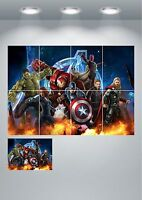 Marvel Avengers Large Wall Art Poster Print A3 / A4 Sections or Giant 1 Piece