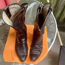 Tony Lama Black Cowboy Boots USA Vintage Handmade Men's # 6711 Size 10 ½ D