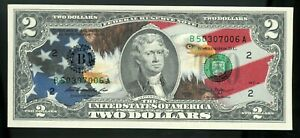 Colorized 2 Dollar Federal Reserve Note - American Bald Eagle - Patriotic Bill!