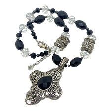 BARSE PENDANT NECKLACE SILVER TONE CROSS ONYX & FACETED GLASS