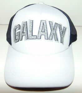 LA Los Angeles Galaxy Adidas Soccer MLS Hat Cap TRUCKER Men White Blue NEW BLING