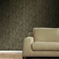 floral palm leaves wallpaper black gray beige gold metallic Textured rolls 3D