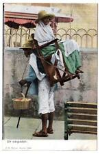 "postcard mexican taxi guy carrying lady on back walking stick ""un cargador"""