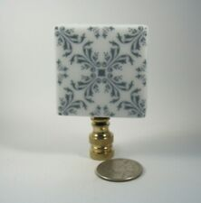Lamp Finial Blue and White Porcelain Tile Square Same Back Lampshade Finial 44G