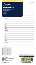 Filofax Personal size Contacts (Name Address Telephone) Insert Refill 130201