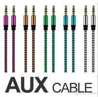 3.5mm Jack To Jack AUX CABLE Audio lead 1m Braided Auxiliary Lead Headphone/iPod