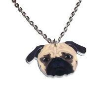 Pug Necklace Cute Dog Jewellery Puggle Charm Pendant Laser Cut Animal Gift
