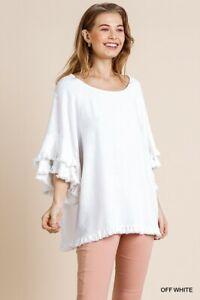 Umgee Linen Blend Layered Sleeve Frayed Hem Top