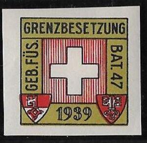 """Switzerland """"Soldier"""" stamp: Infantry, INF #299 IMPERF: Geb.Fus.Bat.47. - sw319"""